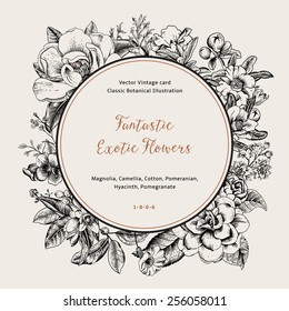 Wreath with exotic flowers. Black magnolia, camellia, hyacinth, pomegranate on white background. Vector Vintage card.