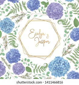 Wreath with flowers and leaves isolated with gold frame. leaves, branches eucalyptus, gaultheria, salal, chamaelaucium, fern.Blue, purple, of flowers hydrangea.Invitations, round cards. Design element