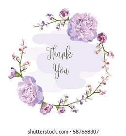 wreath of flowers in romantic with white background vector