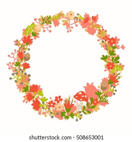 Wreath, forest vector Easter elements, botanical and flowers. Magic forest vector template. Round wreath silhouette. Berries, mushrooms and leaf. Hand-drawn style, flat, isolated