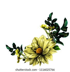 wreath in the form of a bouquet of flower Dahlia twigs with leaves and flowers buttercups, sketch vector graphics color illustration