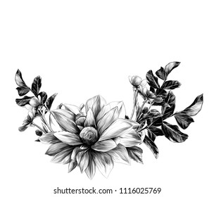 wreath in the form of a bouquet of flower Dahlia twigs with leaves and flowers buttercups, sketch vector graphics monochrome illustration