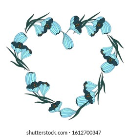 A wreath in the form of a heart made of blue crocuses. Vector illustration.