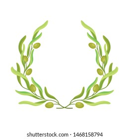 Wreath in the form of an open ring of olive branches. Vector illustration on white background.