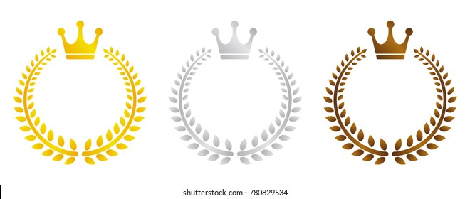 wreath frame illustration set (gold/silver/bronze)