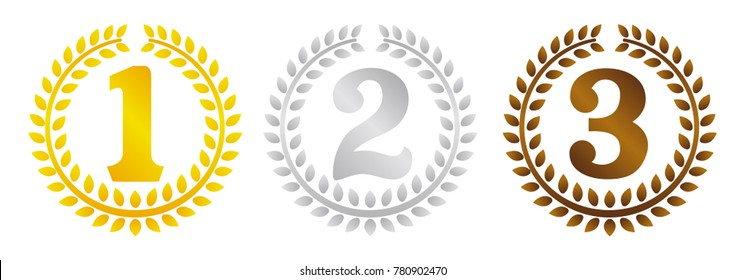 wreath frame ranking illustration set . from 1st place to 3rd place(gold/silver/bronze) .