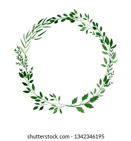 wreath frame of watercolor branches, vector illustration