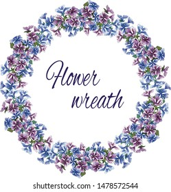 A wreath of gentle purple and pink flowers on a white background. Vector ink drawn illustration for decorating cards, greetings and invitations.