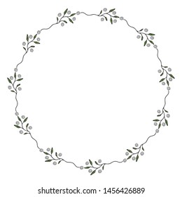 Wreath of green leaves and flovers. Vector illustration on isolated background