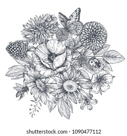 Wreath with hand drawn flowers, leaves, branches, butterfly, bee, ladybug in sketch style. Monochrome vector illustration
