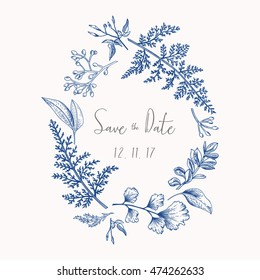Wreath with herbs and leaves isolated on white background. Botanical illustration In blue. Boxwood, seeded eucalyptus, fern, maidenhair. Save the date. Design elements. Vector. Engraving style.