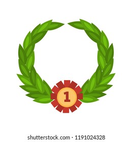 Wreath for horse champion color vector icon. Flat design