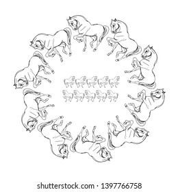 wreath ... isolated vector wreath of prancing white horses on white background
