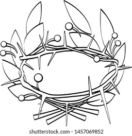 Wreath of laurel and thorns. Linear drawing. Vector image