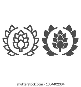 Wreath of leaves with hops line and solid icon, Craft beer concept, beer logo or banner sign on white background, wreath with a hop branch icon in outline style for mobile and web. Vector graphics.