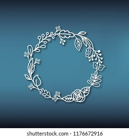 Wreath of leaves in paper style. Frame pattern from plants for laser cutting.Template for carving out of various materials. Vector illustration.