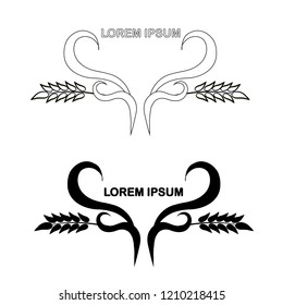 Wreath logo for product design, for packaging design , wreath ear, Lorem ipsum design element stock vector illustration
