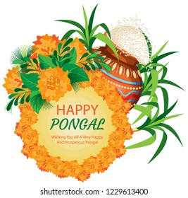 A wreath of marigolds around the plate with a color transition and the inscription. Behind a painted pot of rice and a cane. Isolated Vector Illustration
