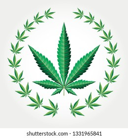 wreath with marijuana leaves, vector illustration