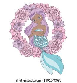 WREATH MERMAID Floral Sea Princess Vector Illustration Set