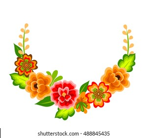 Wreath with mexican flowers. Floral decoration isolated on white