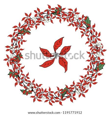 wreath mistletoe christmas template invitation design stock vector