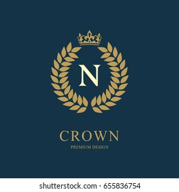 Wreath Monogram luxury design, graceful template. Floral elegant beautiful round logo with crown. Letter emblem sign N for Royalty, Restaurant, Boutique, Hotel, Heraldic, Jewelry. Vector illustration