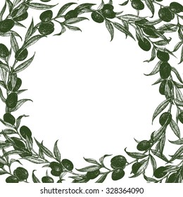 a wreath of olive, olive festival in Spain, olive oil, graphic vector illustration round frame
