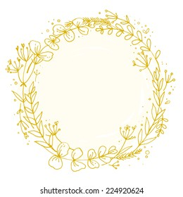 Wreath outlined with hand, delicate flowers. vector