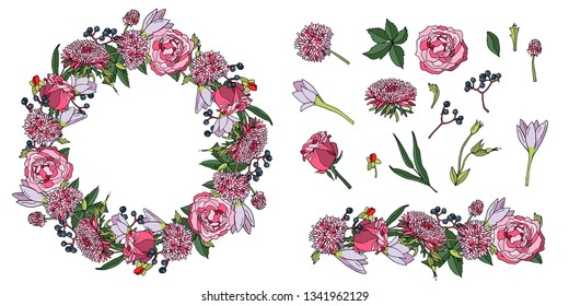 Wreath of pink roses, chrysanthemums and crocuses. Floral circle frame. Border of hand drawn flowers, vector illustrations isolated. Set of flower elements.