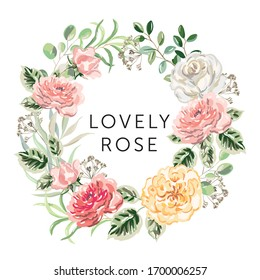 Wreath of pink, yellow flowers, forest green leaves, white background. Wedding invitation round frame. Vector illustration. Floral arrangement. Design template greeting card, text Lovely rose