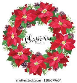 Wreath of Poinsettia flowers in red and green color with pine and berries on white background. Vector set of Christmas elements for holiday invitations, greeting card and advertising design.
