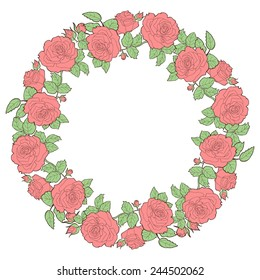 Wreath of redroses. Round floral frame. Vector illustration