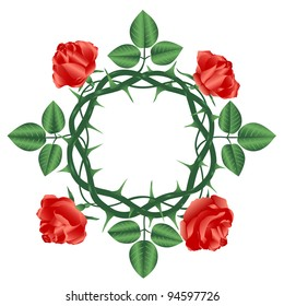 Wreath of roses.Vector illustration.Isolated on white background.