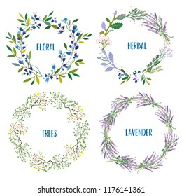 Wreath set with flowers, herbs, lavendes, tree branches. Vector graphic illustration