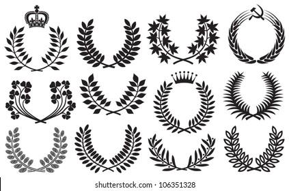 wreath set (laurel, clover, acacia, wheat and olive)