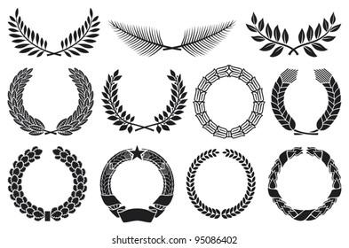 Wreath set (laurel, oak, wheat, palm and olive)