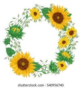 Wreath with sunflowers and oat. Rustic floral background. Vintage vector botanical illustration in watercolor style.