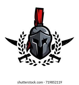 Wreath, swords and helmet of the Spartan warrior symbol, emblem.