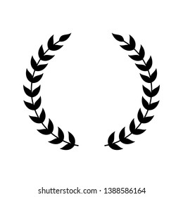Wreath symbol for award emblem, silhouette of black laurel with two separate leaf branches. Victory frame for champion certificate or logo decoration, vector illustration isolated on white background