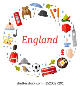 A wreath of traditional symbols of England. Vector round frame with place for text. Template for a tourist theme. Frame of various design elements personifying the UK.