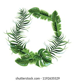 Wreath of tropical leaves.