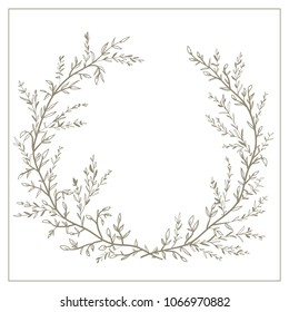 Wreath of twigs and leaves vector. Template for wedding invitations, holidays, birthdays, etc. with a place for your text.
