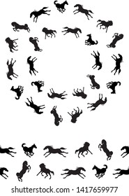 a wreath of vector isolated silhouettes of black horses galloping on a white background