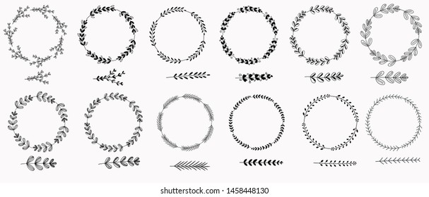 Wreath vectors With leaves. Set branches with leaves Hand draw. Illustrations wreath vintage ornaments.