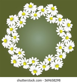 a wreath of white daisies on a green background