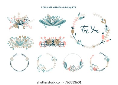 Wreaths and bouquets floral collection. Wildwood vector frames.
