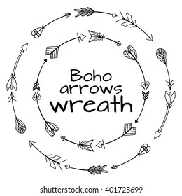 Wreaths of hand drawn arrows. Tribal doodle elements. Vector element for your creativity.