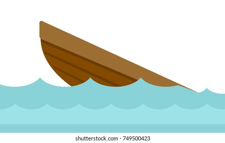 Wreck of a small wooden boat in water vector cartoon illustration isolated on white background.