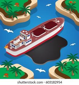 Wrecked oil tanker ship. Oil spill. Isometric. Vector illustration.